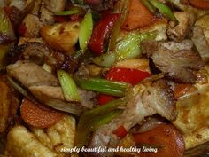 Stir Fried Chinese Leeks with Roast Pork and Hard Tofu (Taukwa/Bean Curd) http://simplybeautifulhealthyliving.blogspot.com/2013/05/stir-fried-chinese-leeks-with-roast.html