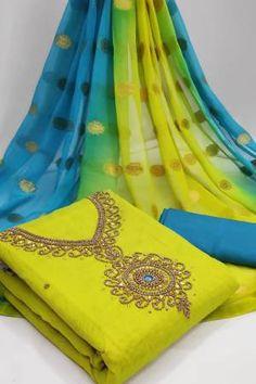 Green Chanderi Embellished Unstitched Straight Suit Latest Salwar Suits, Latest Salwar Suit Designs, Salwar Suits Online, Salwar Kameez Online, Indian Salwar Suit, Patiala Suit, Pakistani Suits, Green Cotton, Cotton Silk