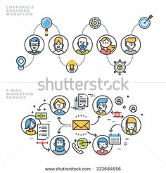 Flat line design concepts for corporate business workflow, company profile, teamwork, email marketing service, newsletter, customer relationship management, for website banner and landing page. - stock vector