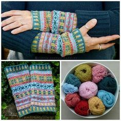 This free Fair Isle mittens pattern is perfect for using up scraps of - wrist warmers knitting pattern. Fair Isle Knitting Patterns, Knitting Charts, Free Knitting, Hat Patterns, Loom Knitting, Stitch Patterns, Fingerless Mittens, Yarn Crafts, Knitting