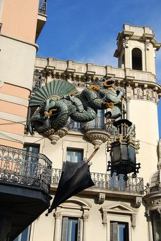 Chinese deco building in La Rambla, Barcelona, Spain. I took a photo of this sign when in Barcelona in 2003.