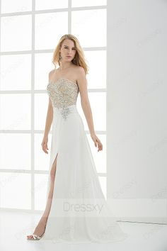 Lovely Sheath / Column Floor-length Sweetheart Zip-up Chiffon Sequined White Evening Dresses