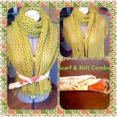 Stylin' Scarf $ Belt Combo  Luscious lime green crocheted and fringe scarf. Belted with a vintage inspired adjustable cloth belt. Wear pieces together or separately. Definitely a boho inspired look Accessories Scarves & Wraps
