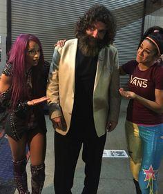Sasha Banks Mick Foley & Bayley Backstage on Monday Night Raw Live