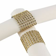 100pcs Gold/Silver Rhinestone Napkin Rings for Wedding Decoration Plastic Chair Sash Bows Napkin Holders Table Deco Accessories