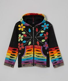 Take a look at this Black Rainbow Zip-Up Hoodie - Toddler & Girls by Rising International on #zulily today!