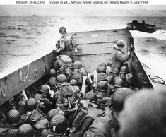 troops in a lcvp just before landing on omaha beach, june 6, 1944