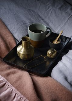 Styling by Hannah Cork. Shot by Jon Aaron Green. Dark and moody interior with blush pink and brass accents. Aaron Green www. Interior Stylist, Blush Pink, Bedroom, Create, Cork, Brass, Green, Style, Light Rose