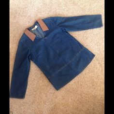 Denim and Leather Tunic Double D western wear denim tunic with detachable collar. Fits a little big Double D Western Wear Tops Tunics
