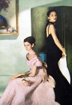 Carmen Dell'Orefice and Countess Gloria von Furstenberg photographed by Cecil Beaton for Vogue, 1946. The beautiful countess, suspected of having been a Nazi spy, would marry Loel Guinness in 1951. As Gloria Guinness, she influenced fashion, but longed to become a writer. KA