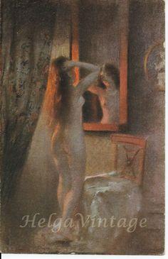 Vintage German NPG artistic erotic postcard, Nach dem Bade/After bath After Bath, Vintage Postcards, Bad, Erotic, German, Artist, Painting, Vintage Travel Postcards, Deutsch