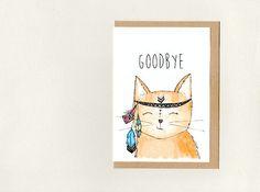 GOODBYE . greeting card . custom - good bye farewell bon voyage good luck sorry get well soon . meditating cat . crazy cat lady . australia