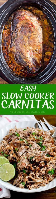 Easy Slow Cooker Carnitas - Tender pork cooks to melt in your mouth perfection in your crockpot!