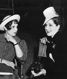 Norma Shearer with writer Anita Loos on the set of The Women, 1939