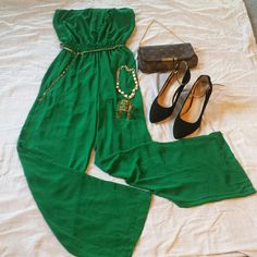 Strapless jumsuit for night out jumsuit go with gold belt chain,worn once fit S/M Pants Jumpsuits & Rompers