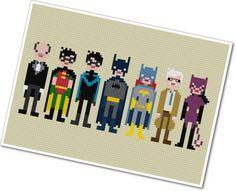 Pixel People - Batman & Friends - PDF Cross-stitch Pattern. $6.00, via Etsy.