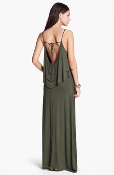 Hidden Heart Tiered Ruffle Dress in olive color.  Great body-skimming fit and drape.