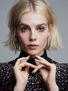 Lucy Boynton wearing the Eleonore Black Diamond Dusted Hoops - C Magazine Cool Blonde, Blonde Hair, Shortish Hair, French Bob, Lucy Boynton, Aesthetic People, Long Wavy Hair, Portraits, Dream Hair