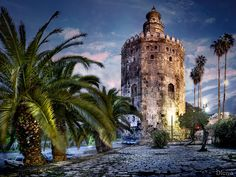 Torre del Oro (Tower of Gold), dodecagonal military watchtower in Seville, southern Spain, built by the Almohad dynasty in order to control access to Seville via the Guadalquivir river. Constructed in the first third of the 13th century, the tower served as a prison during the Middle Ages. Its name comes from the golden shine it projected on the river, due to its building materials (a mixture of mortar, lime and pressed hay).