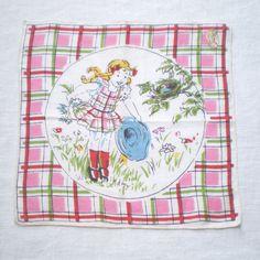 Vintage Linen Handkerchief Girl Peeking at Bird