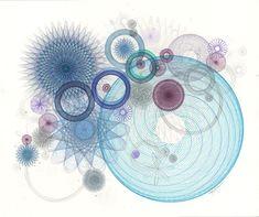 Drawing Circle Motion Original Ink Drawing Ink & Pencil Drawing Blue Aqua Original Abstract Art Circles Loops Geometric by Mary Wagner 17x14 $400