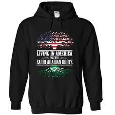 (Top Tshirt Fashion) Living in America with Saudi Arabian roots at Tshirt Family Hoodies, Funny Tee Shirts
