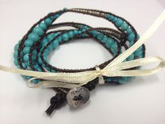 WRAP BRACELET BROWN LEATHER & TURQUOISE $28- CALL SPLASH TO ORDER 314-721-6442