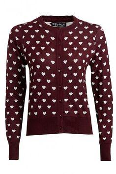 Burgundy Heart Cardigan