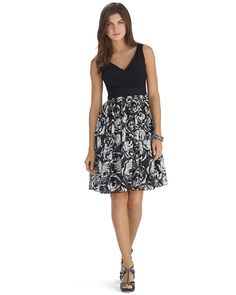 White House | Black Market Sleeveless Rose Print Fit and Flare Dress #whbm