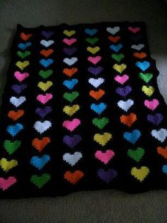 Field of Hearts Afghan