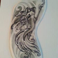 Mermaid tattoo sketch draw artwork