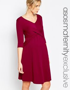 Image 1 ofASOS Maternity Skater Dress With Cross Front & 1/2 Sleeve