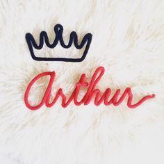 prénom Arthur en laine réalisé au tricotin : Chambre d'enfant, de bébé par dans-la-cabane-de-jeanne