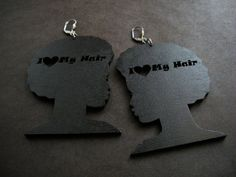 I Love My Hair Black Wood Afro Earrings by AfriqueLaChic on Etsy, $28.00