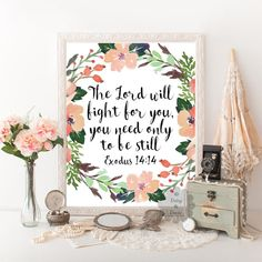 Exodus 14:14 Bible verse printable typography poster scripture print calligraphy, typographic art print wall decor Christian quote print art