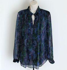 Coldwater Creek M Floral Semi Sheer Long Sleeve Blouse Purple Blue 10/12 #ColdwaterCreek #Blouse