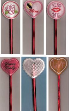 Valentine Pencil Toppers * Embroidery Garden