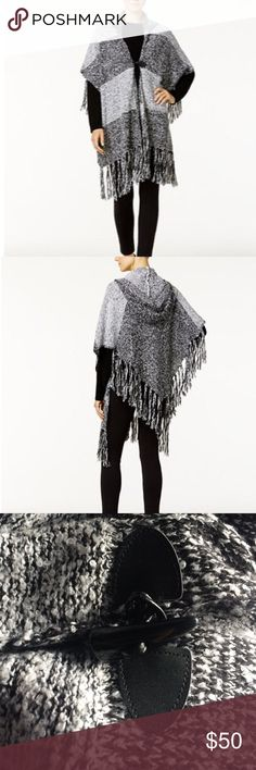 Steve Madden Black&Gray Marled Knit Hooded Poncho NWT, never worn. Long on-trend fringe encircles the hem of Steve Madden's bohemian-chic hooded poncho that slips easily over head. Material is gray and black acrylic and incredibly soft. Hand wash. One size fits all. I ship daily and am open to trades if you have one of my ISOs (listed in my closet). Will consider all offers! Steve Madden Jackets & Coats Capes