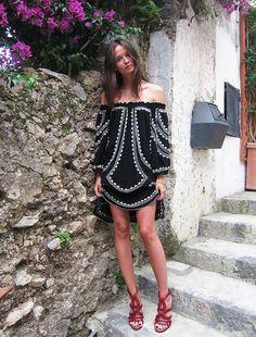Columbine Smille summer vacation chic in Poupette St Barth dress & Alaïa shoes