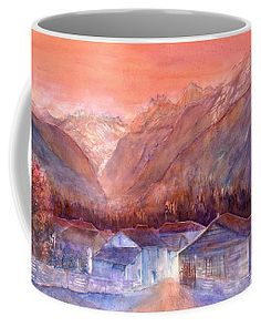Autumn in the Mountains Coffee Mug by Sabina Von Arx Watercolor Techniques, Painting Techniques, You Are Awesome, Really Cool Stuff, Amazing, Sunset Colors, Mugs For Sale, Unique Coffee Mugs, Basic Colors