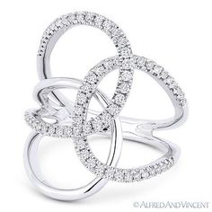 0.54ct Round Cut Diamond Right-Hand Overlap Loop Fashion Ring in 14k White Gold