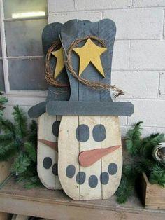 Bonhomme de neige sur bois... ...