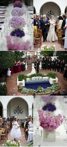 Love the blue tiled fountain in this wedding.