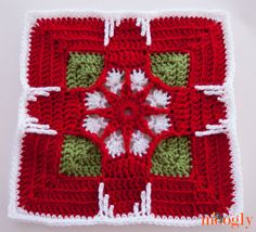 Holiday Ornament Square von Julie Yeager - Block 24 in der Moogly 2014 Afghan CAL . Crochet Afghans, Moogly Crochet, Crochet Squares Afghan, Crochet Square Patterns, Crochet Blocks, Crochet Granny, Crochet Motif, Crochet Designs, Crochet Stitches