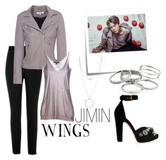 """""""Outfit inspired by BTS JIMIN WINGS Concept photo"""" by jeoneunmars on Polyvore featuring Post-It, River Island, IRO, Kendra Scott, Botkier, Gucci, Alexander McQueen, wings, bts and Jimin"""