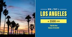 ✈️Win a trip for 2 to Los Angeles with $500 spending money  ($4,000 value) Cash Gift Card, Canadian Contests, Life Tumblr, Life Video, Win A Trip, Enter To Win, Top Destinations, Canada, California Travel