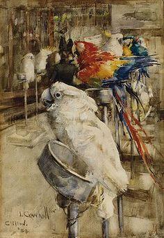 Joseph Crawhall (1861-1913) The Aviary, Clifton, 1888