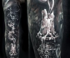 Guy's Skull And Smoke Tattoo Designs