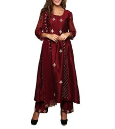 New Latest Designer Indian Maroon Cotton Silk Gota Work Salwar Kameez With Du. Indian Anarkali, Indian Salwar Kameez, Churidar, Punjabi Suits, Cotton Silk, Indian Wear, Duster Coat, Asian, Wedding Stuff