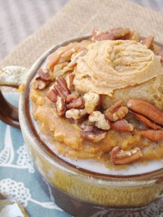 Spiced Pumpkin Oatmeal with Java PB2 #vegan #oatmealartist